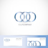 Circle rings joined logo. Vector logo template of metal circle rings joined Royalty Free Stock Image