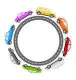 Circle Road Frame with Colorful Cars  on White Royalty Free Stock Photo