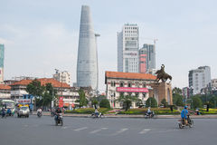 Circle Road and Skyscrapers in Asia Royalty Free Stock Image
