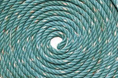 Circle Roll texture of old green nylon rope. Stock Photos
