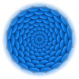 Circle with roof tile pattern in blue. Royalty Free Stock Photo