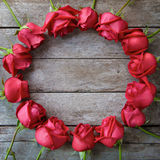 Circle of roses for valentine' s day, anniversary and congratul Royalty Free Stock Photo