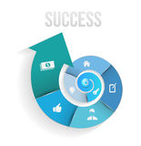 Circle rotate with icons template to success stock illustration