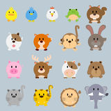 Circle round cartoon color animal illustration Royalty Free Stock Photos