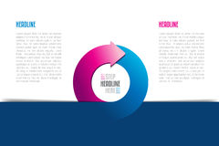 Circle, round divided in two arrows infographic. Template, scheme, diagram, chart, graph, presentation. Stock Image