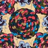Circle round flower seamless pattern Royalty Free Stock Photos