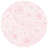 Circle of round lace doilies. Royalty Free Stock Photo