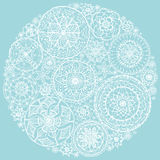 Circle of round lace doilies. Stock Photo