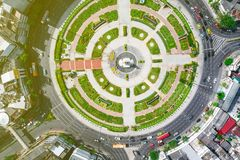 Circle roundabout city junction top view stock photography