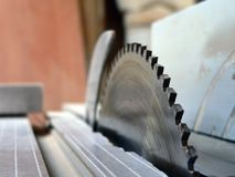 CIRCLE SAW. Shielded saw in factory of furniture Royalty Free Stock Photos