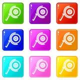 Circle saw icons 9 set Royalty Free Stock Photo
