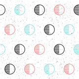 Circle seamless background. Black, blue and pink. Abstract seamless pattern for card, invitation, poster, banner, placard, diary, album, sketch book, menu etc Stock Illustration
