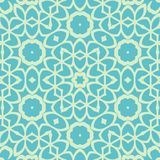 Circle seamless ornamental geometric arabic pattern on blue background Stock Photography