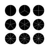 Circle segments set. Black flat color. Stock Image