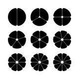 Circle segments set. Black with rounded corners. Stock Image