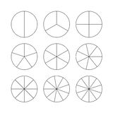 Circle segments set. Black thin outline. Stock Image