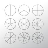 Circle segments set. Black thin outline. Royalty Free Stock Images