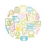 Circle set of contour home appliances icons Royalty Free Stock Image
