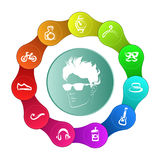 A circle with a set of icons. Stock Image