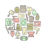 Circle set of silhouette home appliances icons Royalty Free Stock Images