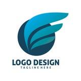 Circle wing logo design. Circle shape of blue wing logo design Stock Photos