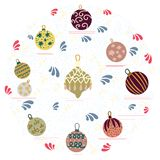 Circle shape with Christmas tree decorations on white background. Flat style illustration. Greeting card, poster, design element royalty free illustration