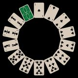 Circle shape clubs playing cards isolated on black. Abstract vector art illustration Royalty Free Stock Image