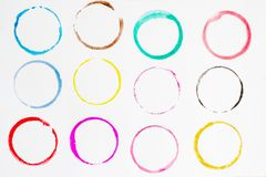 Circle shape design elements. Set of multicolored watercolor, Abstract illustration on a white background vector illustration