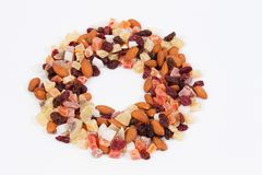 Circle shape of dried fruits and nuts Royalty Free Stock Photos
