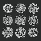 Circle shape floral folk ornament Royalty Free Stock Image