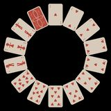 Circle shape hearts playing cards on black. Circle shape hearts playing cards isolated on black, abstract vector art illustration Royalty Free Stock Photo