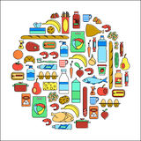 Circle shape with icons: vegetables, fruits, fish, meat, dairy food, grocery, canned goods, household cleaning products, sweets. Food, drinks and household Stock Images