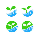 Circle shape logo element with nature plant and water concept, h Stock Photography