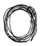 Circle shape made with black pastel crayon Royalty Free Stock Photo
