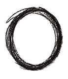Circle shape made with black pastel crayon Royalty Free Stock Photography