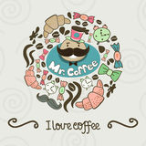 Circle shape made of candy, sweets, cup, lettering, man and coff. Ee things. Vector vintage background Royalty Free Stock Photos