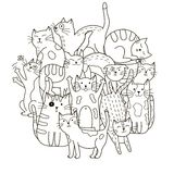 Circle shape pattern with cute cats for coloring book Stock Image