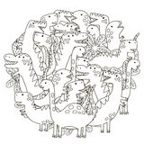 Circle shape pattern with cute dinosaurs for coloring book Stock Photo