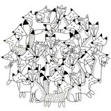 Circle shape pattern with cute foxes for coloring book. Vector illustration Stock Photo