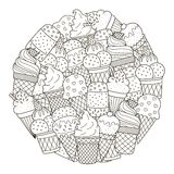Circle shape pattern with cute ice creams for coloring book Royalty Free Stock Image