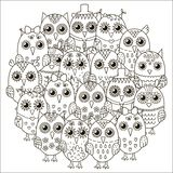 Circle shape pattern with cute owls for coloring book Stock Image