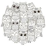 Circle shape pattern with cute owls for coloring book. Vector illustration vector illustration