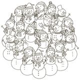 Circle shape pattern with cute snowmen for coloring book Stock Photos