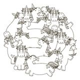 Circle shape pattern with cute unicorns for coloring book Royalty Free Stock Image