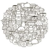 Circle shape pattern with dishes for coloring book Royalty Free Stock Images