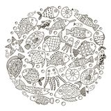 Circle shape pattern with fantasy fish for coloring book Stock Photo