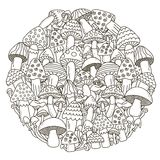 Circle shape pattern with fantasy mushrooms for coloring book. Black and white background. Vector illustration royalty free illustration