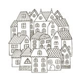 Circle shape pattern with houses for coloring book Stock Photos