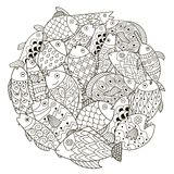Circle shape pattern with ornamental fish for coloring book. Zen art. Vector illustration Royalty Free Stock Images