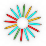 Circle-shape pencils Royalty Free Stock Photography